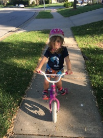 Millie's first day on training wheels